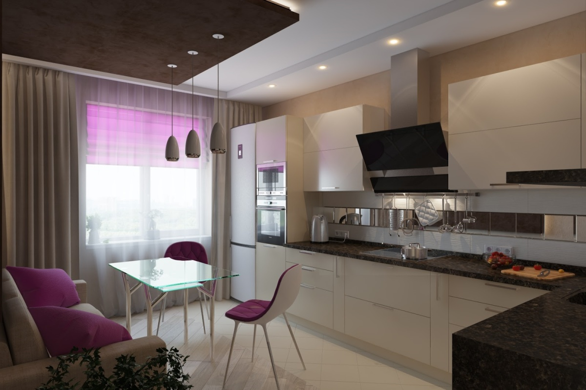 Г-образная уютная кухня
