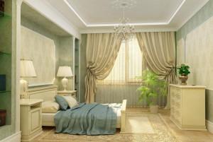 Комната выполнена в светлых теплых тонах