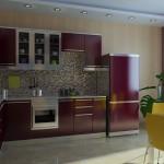 Кухня цвета спелой вишни