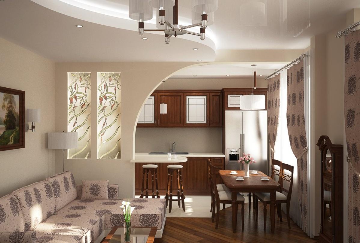 Кухня и гостиная через широкий проход