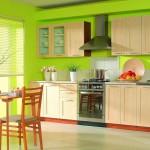 Кухня с яркими салатовыми цветами