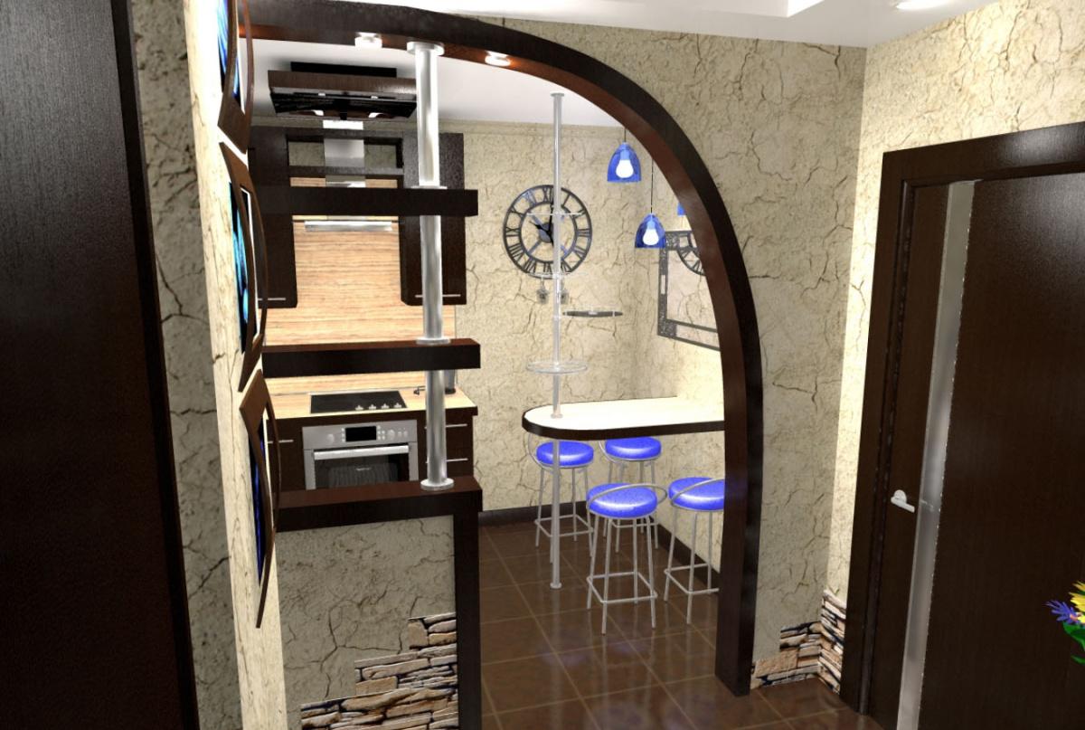 Дизайн коридора-кухни