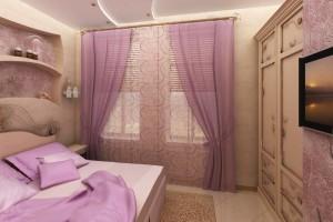 Сиреневый цвет придал воздушности комнате