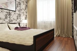 Светлая спальня с оригинальным рисунком на стене
