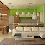 Зеленая кухня и коричневая гостиная