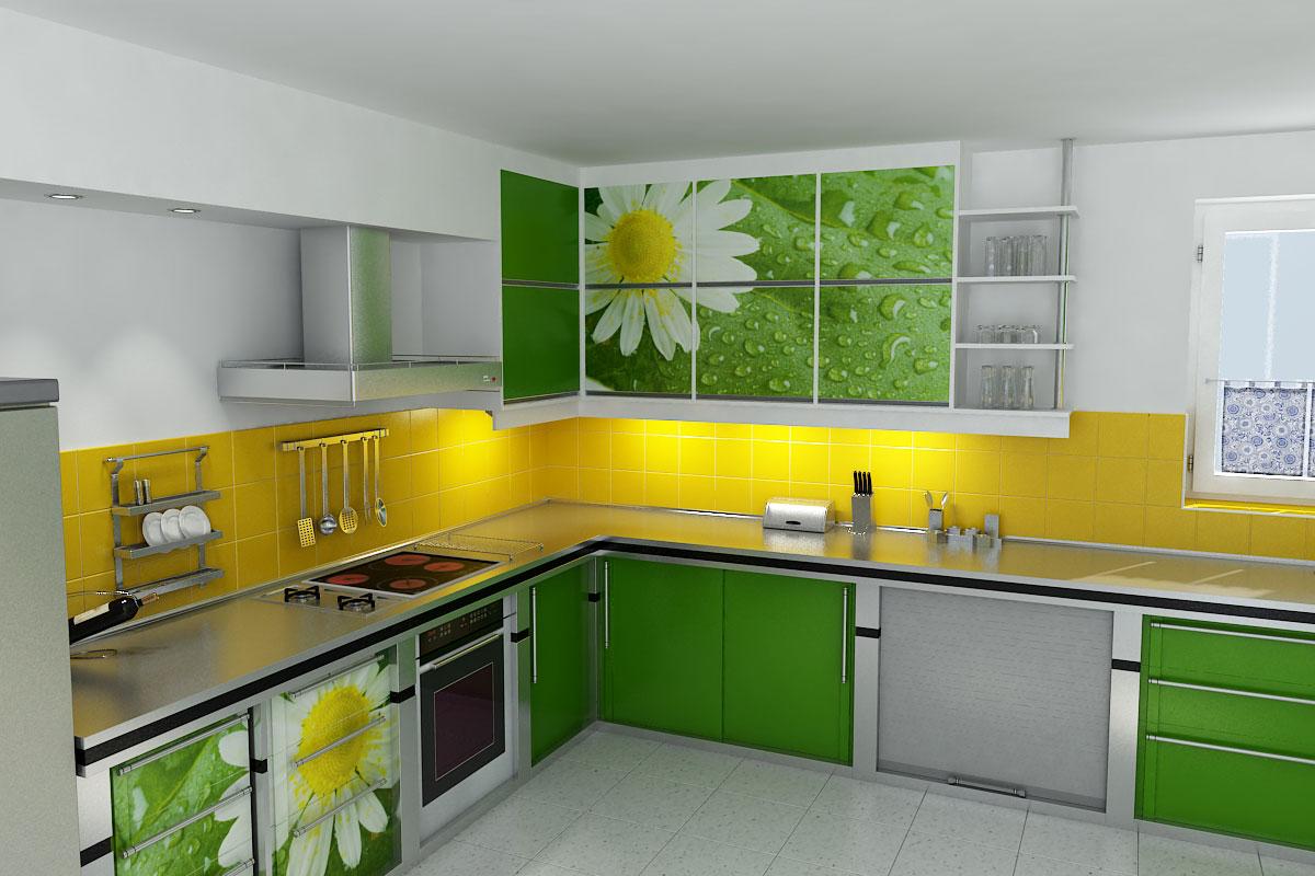 Зеленая кухня с рисунком ромашки